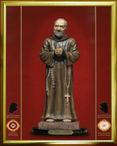 """Canvas Texture Glittering """"Gold Leaf"""" Padre Pio 16 X 20 inch AT 75% DISCOUNT! with FREE SHIPPING! GOLD TONE FRAME WITH MOUNTED ICON IMAGE FOR $119.95 FOR THE FRAME AND ICON"""