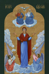 """The Most Exquisite, Museum Quality, Fine Art Giclée Icon of """"MARY'S ASSUMPTION""""©: The Fourth Marian Dogma! on the finest canvas!  AT 77% DISCOUNT!   with FREE SHIPPING!  [SAVE $99.00]!"""