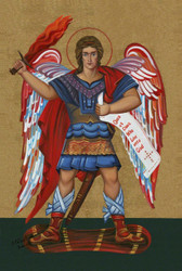 """The Most Exquisite, Museum Quality, Fine Art Giclée Icon of The Very Protecting """"SAINT MICHAEL THE ARCHANGEL""""© on the finest canvas!  AT 77% DISCOUNT!  with FREE SHIPPING!  [SAVE $99.00]!"""