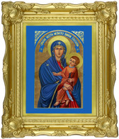 "Glittering ""Gold Leaf"" Art Museum Quality, Fine Art Giclée of The Miraculous Icon® on Canvas texture - blessed and touched to 75 Sacred First Class Relics!  At up to 75% DISCOUNT! with FREE SHIPPING! 14"" x 17"""