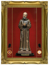 """Padre Pio exuding blood-like substance, tears, and oil as signs that he will answer your prayers!!  Gold Leaf on Canvas Texture in Ornate Gold Leaf Frame! 7"""" x 9"""" - 67% Off!  [SAVE $100.00]!"""