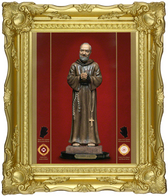 "Most Miraculous Image of Saint Padre Pio – exuding blood-like substance, tears, fragrance, and oil that are signs he will answer your prayers!   On Canvas Texture in French Baroque, bright gold leaf frame!  19"" x 23"" at 58% DISCOUNT!  [SAVE $520.]"