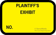 PLAINTIFF'S EXHIBIT NO Labels Stickers - Yellow - 492 per pack