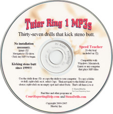 "Tutor Ring 1 MP3s ""37 Drills that kick steno butt"" Speeds 20/300 wpm"