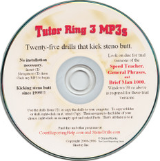 Tutor Ring 3 MP3s 25 drills that kick steno butt for stenograph