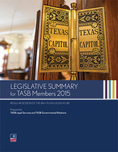 Legislative Summary for TASB Members 2015 cover