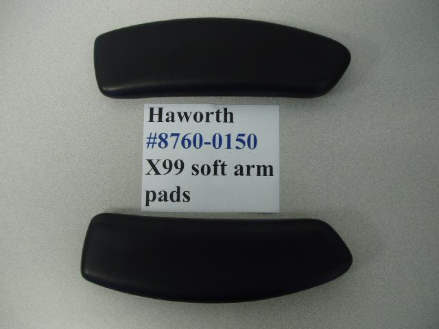 Haworth X99 Chair Arm Pads Soft Vinyl Black Pair Office Replacement