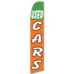 Used Cars - White/Green/Orange-Feather Flag
