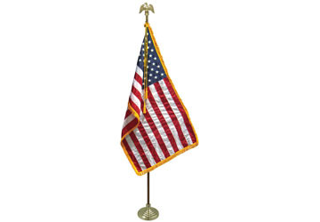 United States lobby flag fringed USA US American