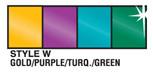 Gold Purple Turquoise and Green Metallic Streamer