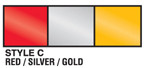 red, silver, and gold metallic streamer