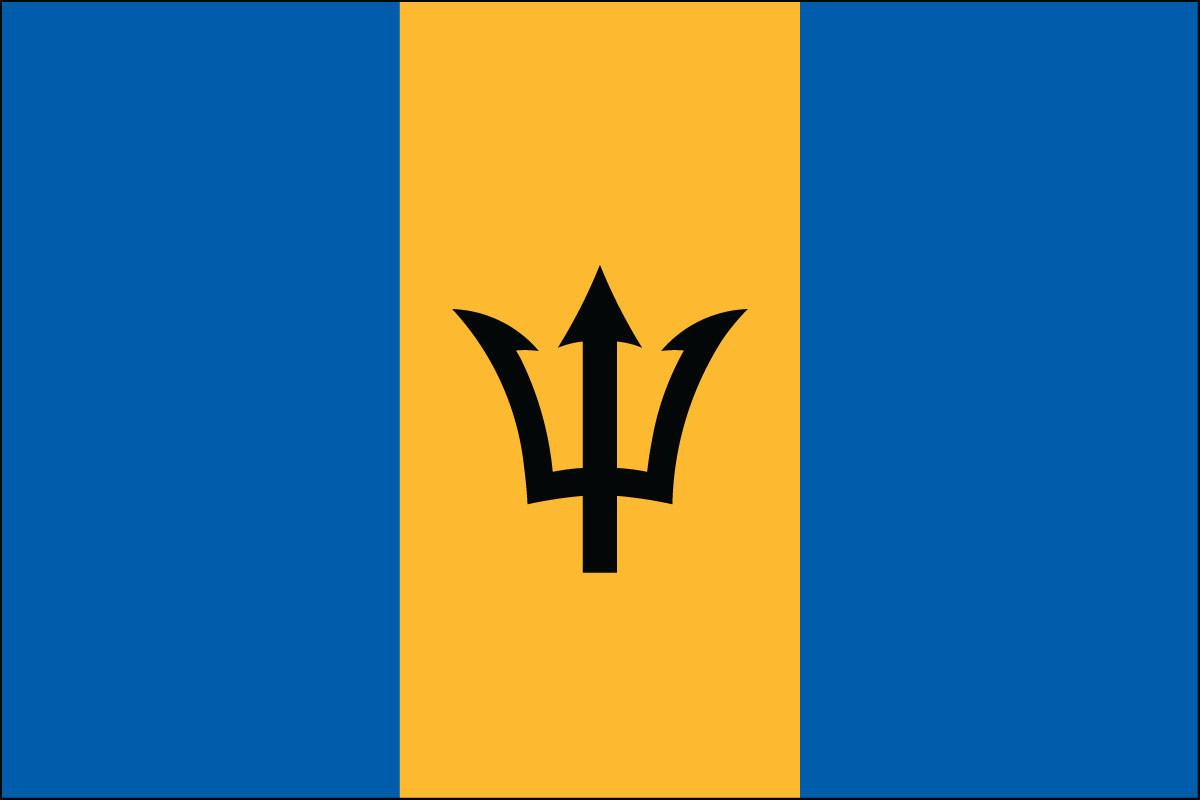 """Barbados - 4"""" x 6"""" Miniature Stick Flags"""