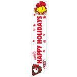 Happy Holiday Feather Flag (White)