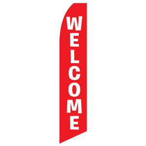 Red Welcome Feather Flag