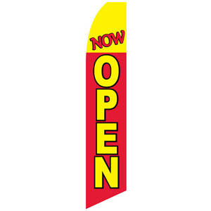 Now Open Feather Flag Yellow