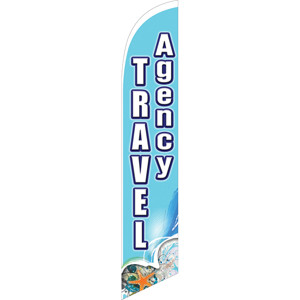 travel agency, feather flag, advertising signs, outdoor signs