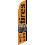Tires New & Used (orange background) Semi Custom Feather Flag Kit