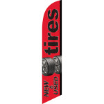 Tires New & Used (red background) Semi Custom Feather Flag Kit