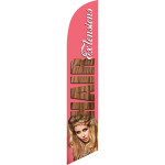 Hair Extensions (pink background) Semi Custom Feather Flag Kit