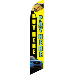 Buy Here Pay Here (black and yellow background) Semi Custom Feather Flag Kit