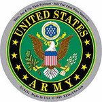 "U.S. Army circular decal. Size: 3 1/4"" (diameter)"