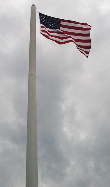 Cell phone towers are great for our High Wind flags. This flag is on a 140 foot tower.