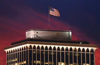 One of our original test sites. This 20 x 30 foot flag is located on top of a 34 story building.