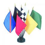 Official Auto Racing Stick Flag Set of 7 with Base
