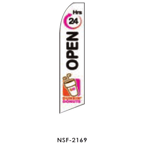 Dunkin Donuts (Open 24 hours-white) Feather Flag