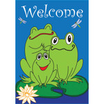 Welcome Frogs Applique House Flag