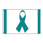 Ovarian Cancer Teal Ribbon Flag