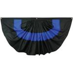 Thin Blue Line 3' x 6' Nylon Pleated Fan