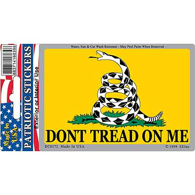 "Don't Tread On Me decal. Size: 2 3/4"" x 4"""
