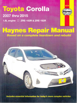 Toyota Corolla 1.8 litre engine ZRE-152R & ZRE-182R 2007 - 2015 Workshop Manual
