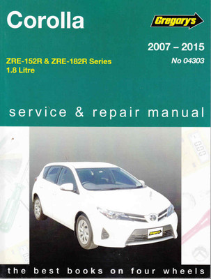 Toyota Corolla 1.8 Litre ZRE-153R & ZRE-182R 2007-2015 Repair Manual - front