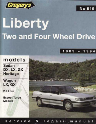 Subaru Liberty 1989 - 1994 Workshop Manual