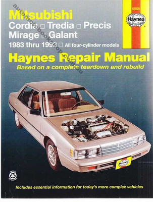 Mitsubishi Cordia, Tredia, Precis, Mirage, Galant 1983 - 1993 Workshop Manual