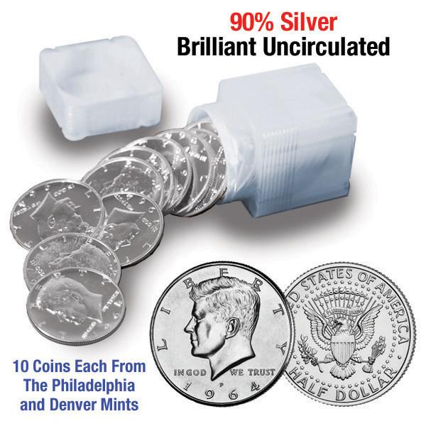 1964 JFK Solid Silver Half Dollar Rolls