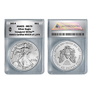 2014 MS70 Silver Eagle in Wood Box