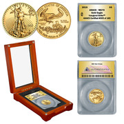 2015 1/10th oz Gold Eagle in Wood Box - Inaugural Strike