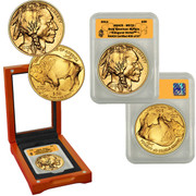 2013 1 oz Gold Buffalo in Wood Box - Inaugural Strike