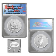 "This special edition Reverse Proof 2015 $5 Maple Leaf coin features a privy mark of ""E=mc2""."