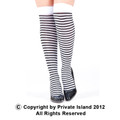 White and Black Striped Thigh High 8174