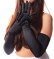 Black satin opera gloves