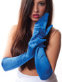 Royal Blue Satin Opera Gloves 1217