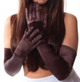 Brown Satin Opera Gloves 1219