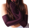 Burgundy Satin Opera Gloves 1220