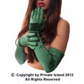 Forest Green Satin Opera Gloves 1221