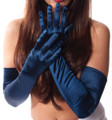 Navy Satin Opera Gloves 1224