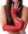80&#039;s Long Fishnet Gloves - Red 1233